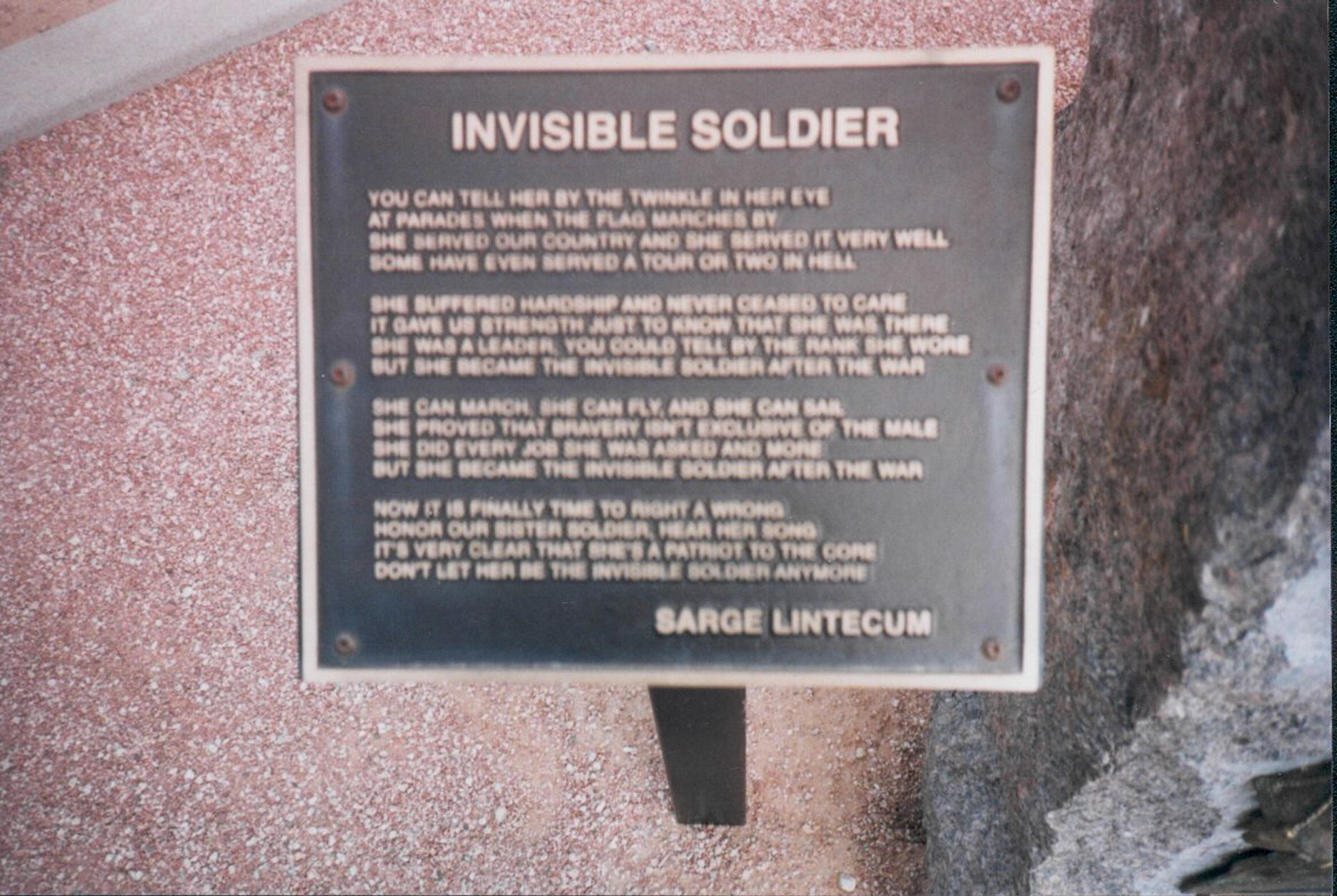 Sarge's Poem At The Women Veterans' Memorial